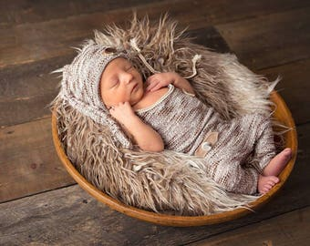 Brown and cream newborn romper / photography prop