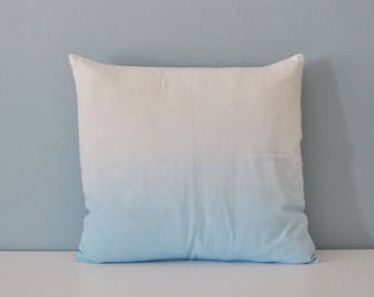 Blue Fade/ Ombre/ Dip Dyed Cushion/ Pillow Cover With Envelope Closure. 40 x 40 cm, 16 x 16 Inches, White cotton.