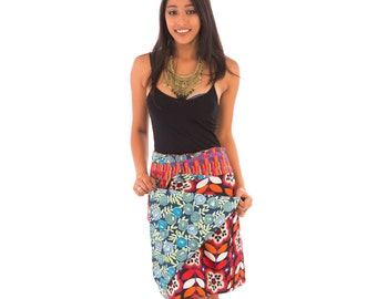 Reversible Cotton Skirt Red Orange Blue Black Multi Colour Print with Detachable Pocket Long Length