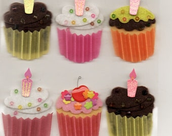 Cupcakes  Jolee's Boutique Scrapbook Stickers Embellishments Cardmaking Crafts