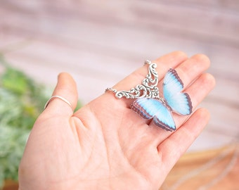 butterfly necklace gift girl pendant butterfly silk blue butterfly gift for Valentine gift for her jewelry butterfly fairy nature  wings