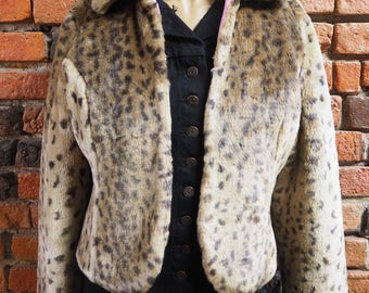 Women's 90s Leopard Print Faux Fur Short Jacket Coat With Pink Lining Size Small
