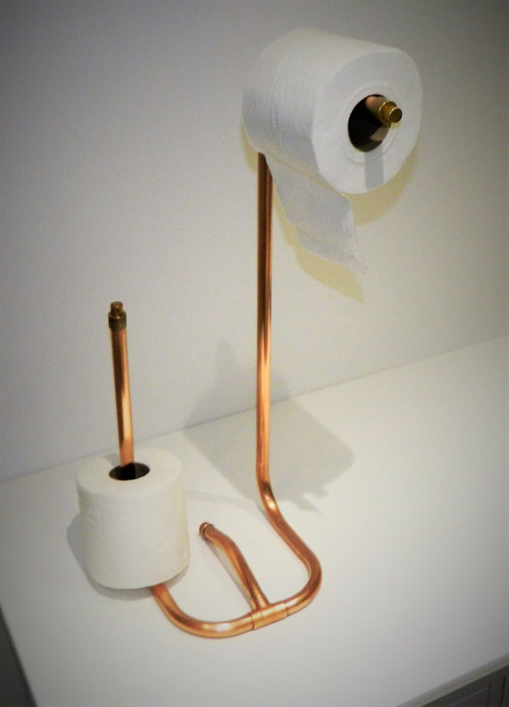 Unique Freestanding Copper Pipe Toilet Roll Holder With