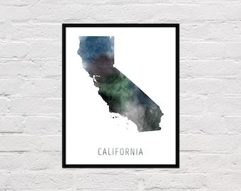 California Map Print, Printable California State Map, California Art Print, California Wall Art, Watercolor Map, California Poster, Download