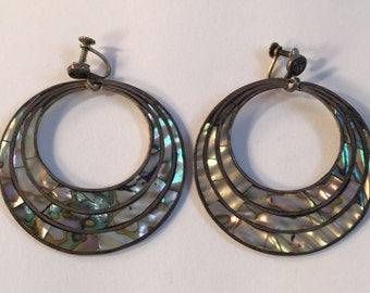 Vintage Large Round Screw Back Sterling Inlay Earrings