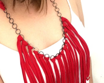 Red fabric necklace with chains