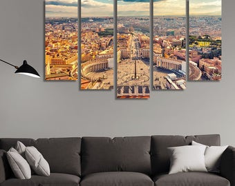 LARGE XL Saint Peter's Square in Vatican Canvas Print Rome, Italy Canvas Vatican Day Wall Art Print Home Decoration - Framed and Stretched