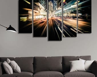 LARGE XL Abstract City Traffic Canvas Background in Motion Modern City Canvas Print Blurred Image Wall Art Print Home Decoration - Stretched