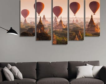 LARGE XL Hot Air Balloons over Plain of Bagan, Myanmar Canvas Print Buddhist Temples Canvas Wall Art Print Home Decoration - Stretched