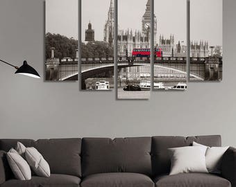 LARGE XL Big Ben, House of Parliament and Lambeth Bridge Canvas Print Red Bus London, UK Canvas Wall Art Print Home Decoration - Stretched