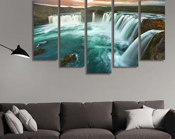 LARGE XL Godafoss Waterfall Iceland Canvas Print Nature Spectacular Phenomenon Canvas Wall Art Print Home Decoration - Framed and Stretched