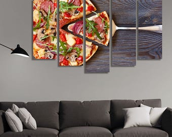 Restaurant Décor, Food Print, Food Photography, Canvas Art, Canvas Print, Pizza, Wall Décor Kitchen, Kitchen Décor Wall Art, Kitchen Decor