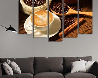 LARGE XL Coffee Canvas, Coffee Beans, Coffee Art  Wall Art Print Home Decoration - STRETCHED