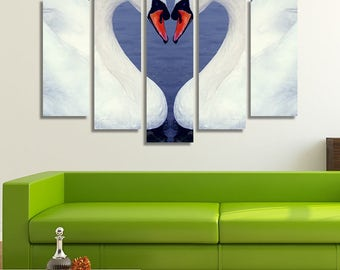LARGE XL Romantic Swans Touching Their Heads Canvas Heart Shape Wall Art Print Home Decoration - Framed and Stretched - 8005