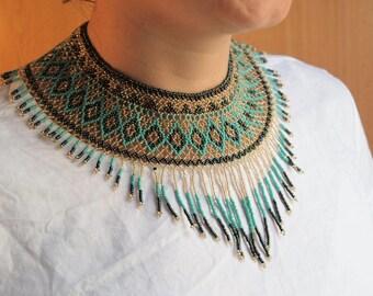 Turquoise beads bib, huichol necklace, tribal necklace, ethnic necklace, ethnic bib necklace, turquoise bib collar, blue bib necklace