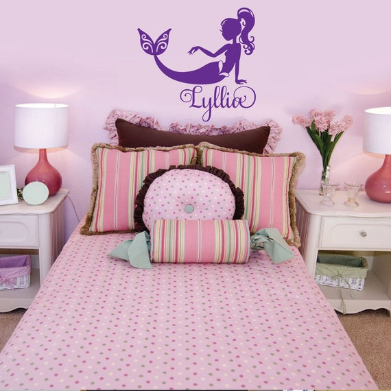 Girls Mermaid Bedroom Room Decor Personalized Name Custom Wall