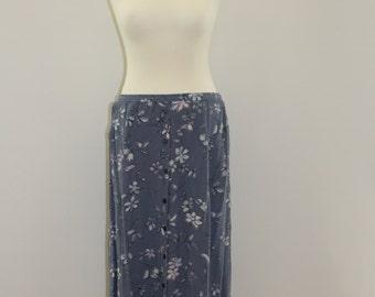 Floral Print Long Skirt(White/Grey Blue)