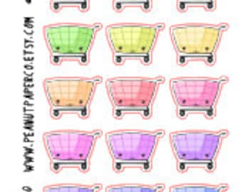 Kawaii Shopping Stickers, Erin Condren Stickers, Happy Planner Stickers