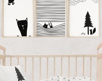 Set of 3 Nursery Prints, Animal Black and White, CURIOUS ANIMALS Illustration, Nursery Decor , Kids Poster, Printable Gift, Digital Download
