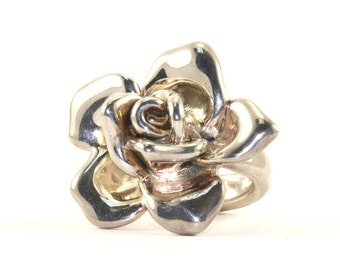 Vintage Rose Flower Shape  Ring 925 Sterling Silver RG 1682