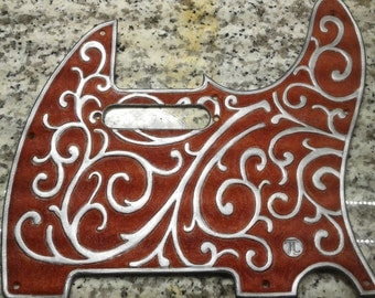 """Custom Hand Tooled Leather """"Telecaster"""" Pick Guard  (Vines)   Made To Order"""