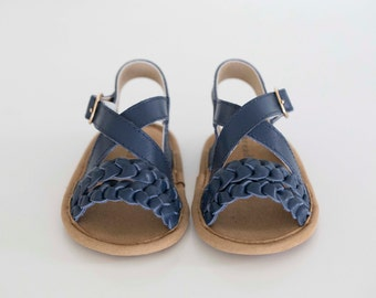 mimi sandal - navy (soft sole baby shoes)