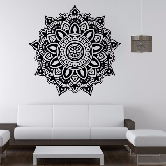 Vinyl Wall Decal - Mandala Flower Indian Bedroom Wall Decal Art Stickers Mural Home Vinyl Family wall stickers home decor