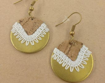 Cork lace earrings-OZALEE-Bohemian-leather earrings