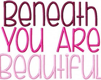 Beneath You're Beautiful Machine Embroidery Font Set Instant Digital download