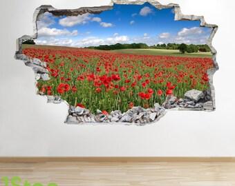 Poppy Field Wall Sticker 3d Look - Bedroom Lounge Nature Wall Decal Z8