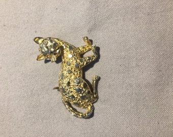 Vintage Gold Cat Pin Brooch