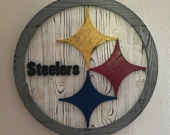 Pittsburgh steelers wood sign, steelers wall art, steelers decor,Pittsburgh Steelers wood logo, distressed wood logo, steelers wall art