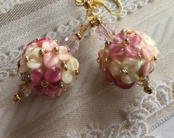 Creamy White, Pale Pink & Raspberry Earrings, Lampwork Jewelry, Valentines Day Gift, Mothers Day, Gift For Her