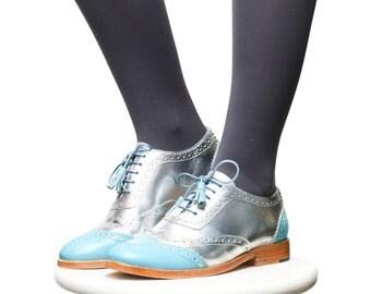 Shoes - Women's Shoes - Oxfords & Tie Shoes - Brogues - oxford brogues - silver brogues - womens shoes - handmade shoes