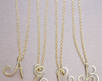 Uppercase Initial Letter Necklace Personalized Cursive Letter Necklace Gold Letter Necklace Silver Initial Necklace Cursive Letter Di&De