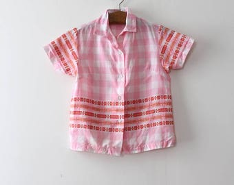 NOS vintage 1960s blouse // 60s pink button up top
