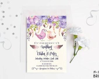 Romantic Birds Wedding Invitation. Boho Wedding Invite. Watercolor Purple  Flowers. Lavender Wedding.