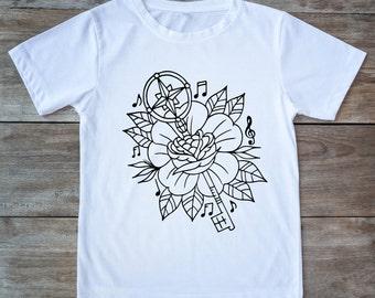 Music shirt, flower shirt, music note, compass shirt, tattoo tee, classic tattoo art, old school shirt, hipster gift, gift for tattoo lovers