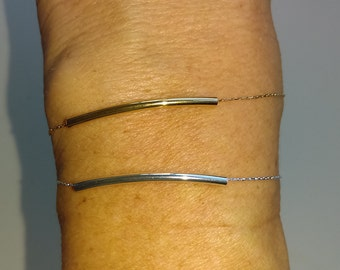 Bracelet in serpentine chain 1 mm gold plated or silver plate with tube
