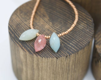 Rose Quartz with Pale Green to Blue Quartz and Rose toned Beaded Necklace 17.25""