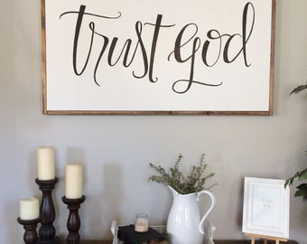 trust God - black - framed sign - hand lettered sign - fixer upper - hand painted sign - farm house decor - religious sign