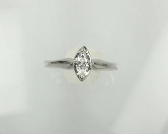 Vintage 1960's marquise diamond solitaire engagement ring .15ct
