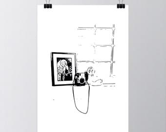 Window Camera Drawing (4.25x6 & 8.5x11) Poster Printable Download Wall Print
