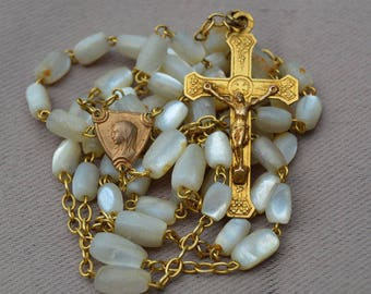 Art Deco French Rosary - Vintage Mother of Pearls Beads & Gold Religious Necklace - Communion Baptism Wedding Gift