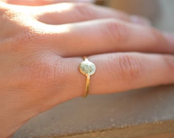 Full moon ring made of hammered brass, circle ring, contemporary ring