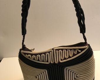 Vintage Telephone Coil Navy and White Purse