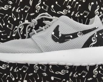 Black and White Music Notes Nike Roshe Run One Shoe Sneaker