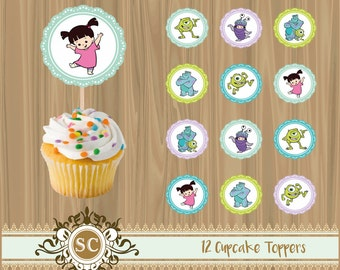 12 Monsters Inc Cupcake Toppers Sully Boo Mike Pixar
