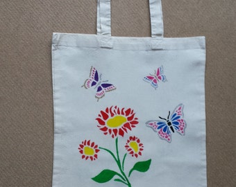 Hand painted cotton shopping/tote bag
