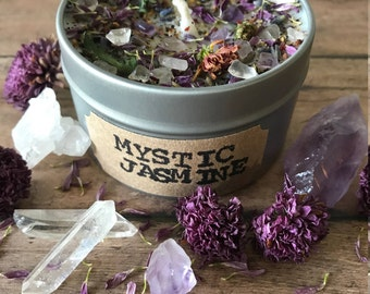 6oz Mystic Jasmine Candle,Soy candle with infused flowers,Floral,Travel candle,Crystal candle,Gift for her, 6 oz, Gemstone and flower candle